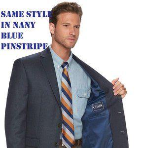 🆕 Chaps Men's 100%Wool Jacket Blazer Suit Navy